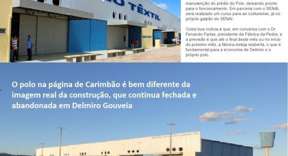 """Candidato """"manipula"""" imagens do Polo de Confecções para prometer empregos em Delmiro Gouveia"""