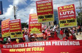 Trabalhadores de diversas categorias protestam contra a reforma da Previdência