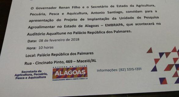 Governo consegue tirar Embrapa de Alagoas do papel
