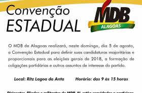 MDB realiza convenção para oficializar candidatos em Alagoas