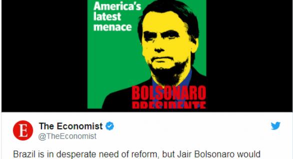 """Bolsonaro vira capa da Economist: """"A última ameaça da América Latina"""""""