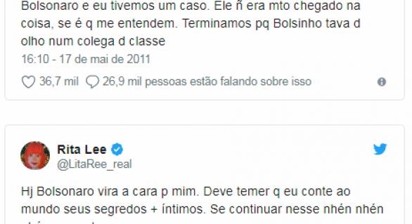 Em tweet antigo, Rita Lee diz que já teve caso com Bolsonaro