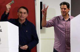 Pesquisa aponta Bolsonaro com 54% e Haddad com 46% dos votos válidos