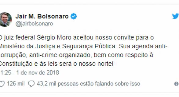 Moro aceita convite para Ministério da Justiça do governo Bolsonaro