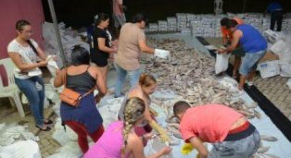Distribuição de 60 toneladas de peixe, arroz e leite de coco garante mesa farta aos campo-alegrenses