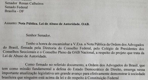Só quem abusa ou quer abusar é contra a lei do abuso de poder, afirma Calheiros