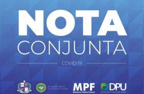 MPF, MPE e Defensorias Públicas lançam nota em favor do isolamento social