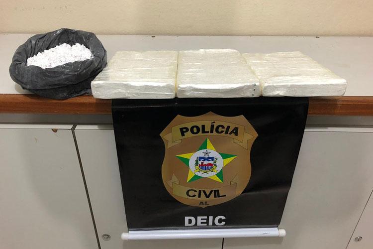 Mulher é presa em Maceió com 3kg de cocaína de elevado grau de pureza