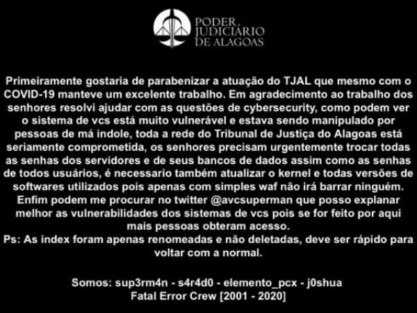 Site do TJAL é invadido e hackers deixam mensagem inusitada de apoio