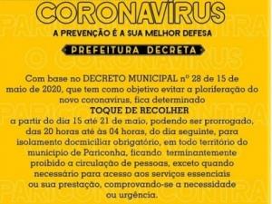 Prefeitura de Pariconha determina toque de recolher até o dia 21 de maio