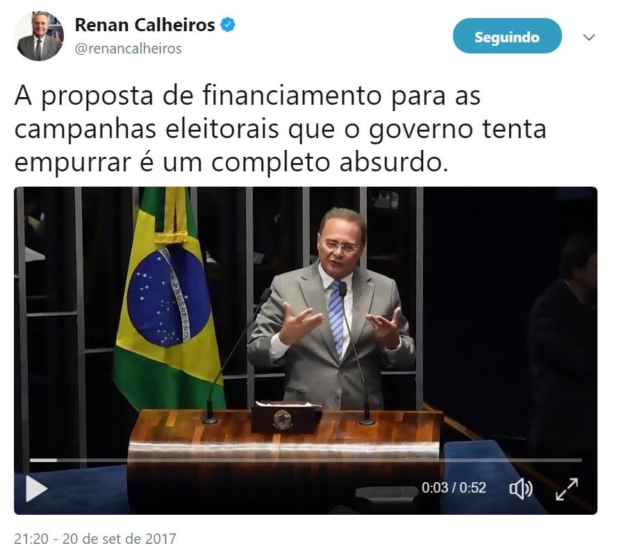 Renan Calheiros condena financiamento público de campanhas