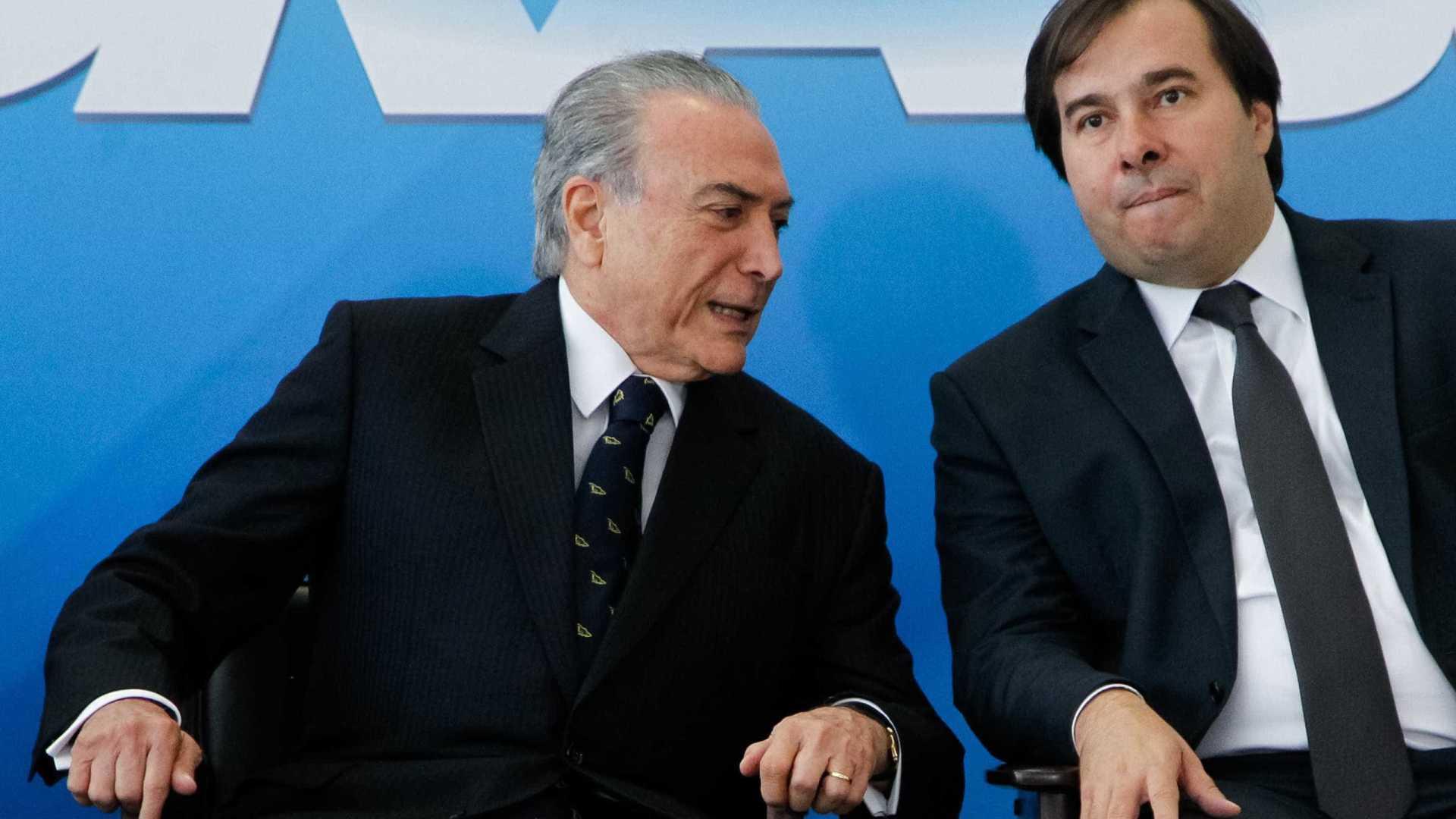 Declarações de Maia sobre governo deixam Temer irritado, dizem aliados