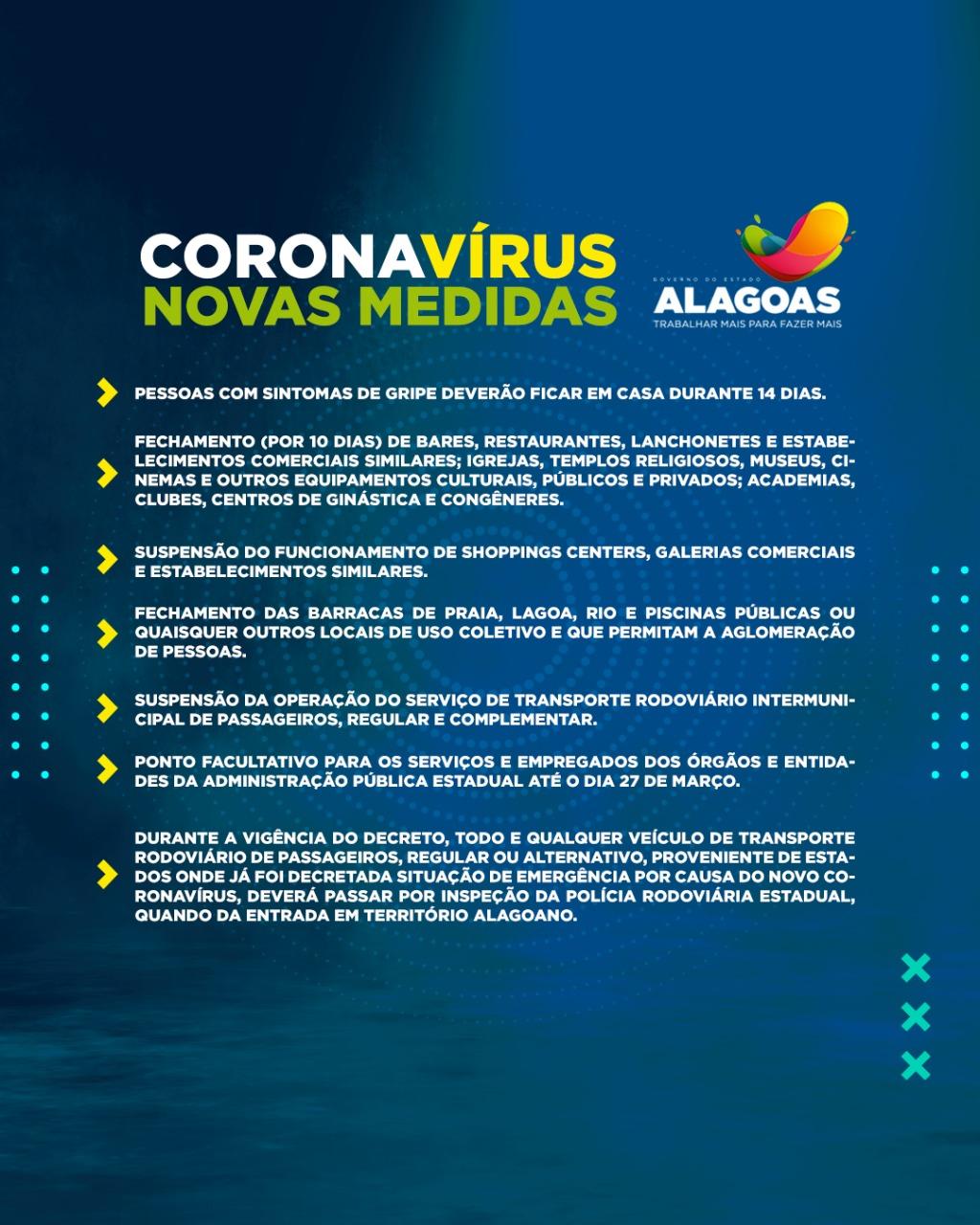 Medidas preventivas adotadas pelo Governo de Alagoas devem ser cumpridas