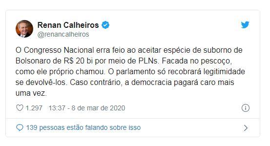 """O Congresso Nacional erra feio ao aceitar espécie de suborno de Bolsonaro"", diz Calheiros"